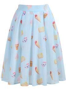 Cake Print Pleated Chiffon Skirt