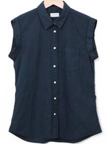 Lapel Sleeveless Pocket Navy Blouse