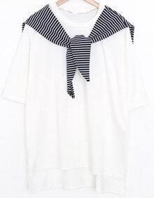 Striped Shawl Embellished T-Shirt