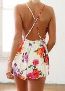 Criss Cross Back Backless Floral Dress