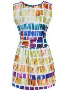 Multicolor Zipper Top With Rainbow Print Skirt