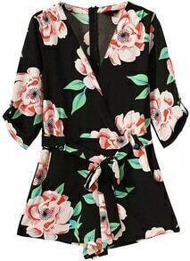 Deep V Neck With Belt Florals Black Jumpsuit