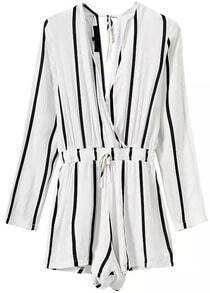 Deep V Neck Vertical Striped Jumpsuit