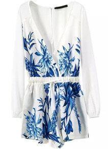 Long Sleeve V Neck Pastel Floral Print Jumpsuit