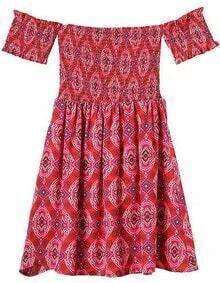 Off The Shoulder Vintage Print Pleated Red Dress