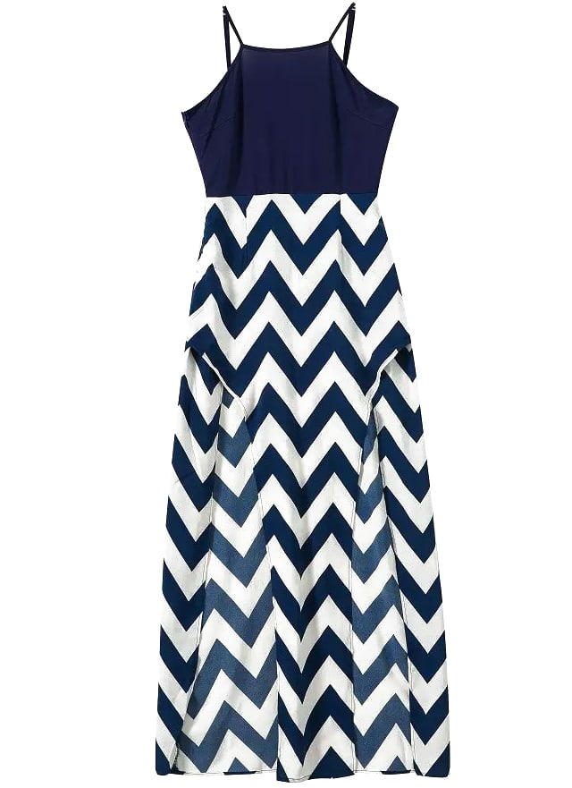 Spaghetti Strap Zigzag Split Dress