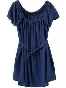 Scoop Neck Ruffle Pleated Dress