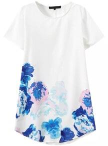 Short Sleeve Flower Print Shift Dress