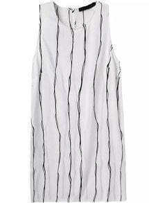 Round Neck Sleeveless Vertical Striped Dress
