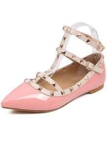 Pink With Rivet Slingbacks Flats