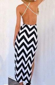 Spaghetti Strap Backless Zigzag High Low Dress