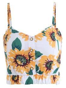 Spaghetti Strap Sunflower Print Cami Top