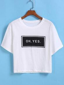 Letters Print Crop White T-shirt