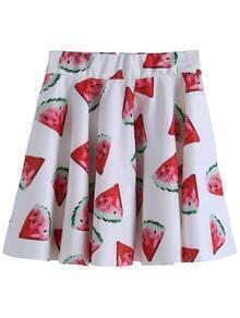 Watermelon Print Pleated Skirt