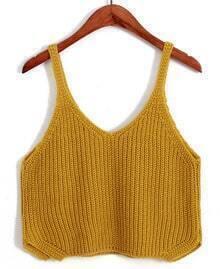 Spaghetti Strap Crop Knit Yellow Cami Top