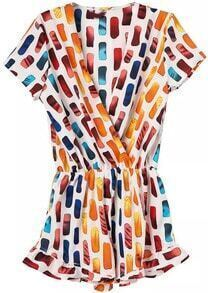 Multicolor V Neck Geometric Print Jumpsuit