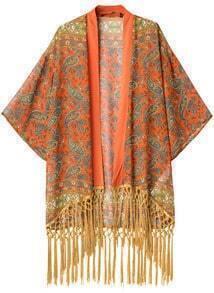 Orange Cashews Print Tassel Loose Kimono
