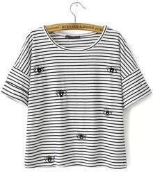 Black White Striped Eye Embroidered T-Shirt