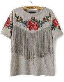 Grey Short Sleeve Floral Tassel T-Shirt