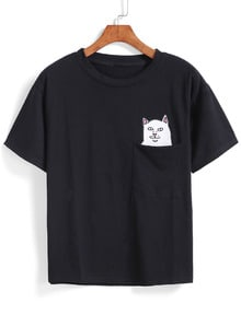 Cat Patch With Pocket T-shirt