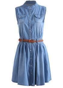 Stand Collar With Pockets Denim Shirt Dress