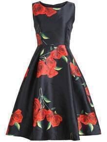 Sleeveless Rose Print Flare Dress