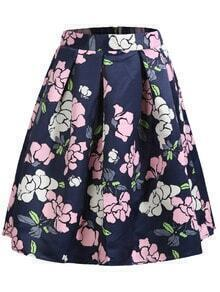 With Zipper Florals Flare Multicolor Skirt