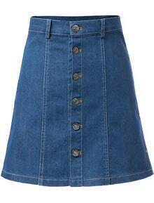Single-breasted A-Line Denim Skirt