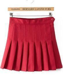 With Button Pleated Wine Red Skirt