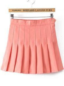 With Button Pleated Pink Skirt
