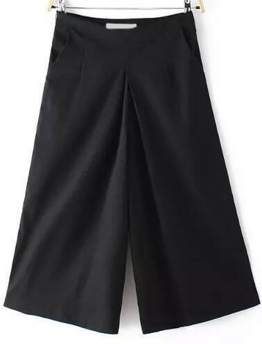 Wide Leg Cropped Black Pant