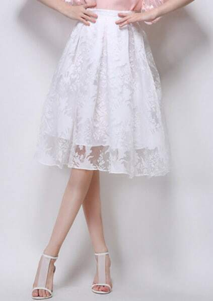 With Zipper Embroidered Flare Skirt pictures