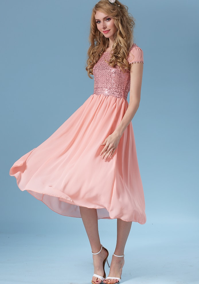 Lace Embroidered Vintage Chiffon Pleated Dressfor Women Romwe