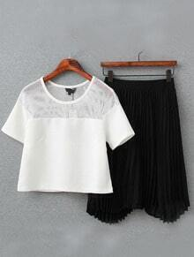 Contrast Mesh Top With Pleated Skirt