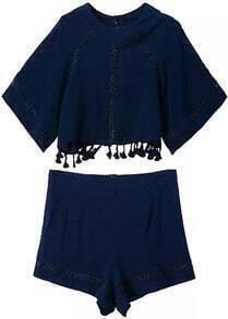Tassel Hollow Crop Top With Zipper Navy Shorts