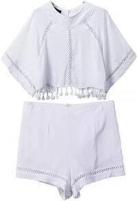 Tassel Hollow Crop Top With Zipper White Shorts
