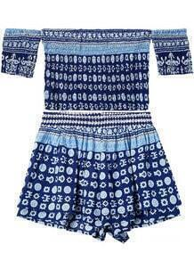 Off The Shoulder Crop Top With Geometric Print Blue Shorts