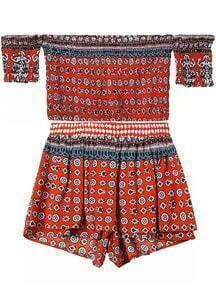 Off The Shoulder Crop Top With Geometric Print Orange Shorts