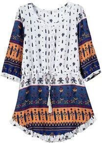 Round Neck Drawstring European Style Print Navy Dress