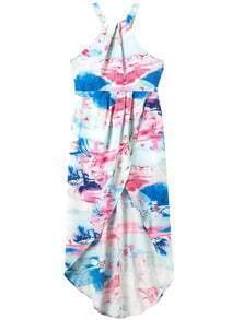 Halter High Low Florals Blue Dress