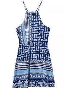 Spaghetti Strap Geometric Print Blue Dress