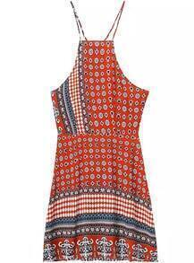 Spaghetti Strap Geometric Print Orange Dress