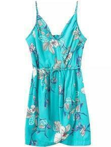 Spaghetti Strap Florals Split Dress