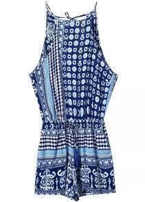 Spaghetti Strap Geometric Print Blue Jumpsuit