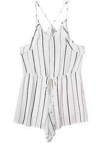 Spaghetti Strap Vertical Striped Jumpsuit