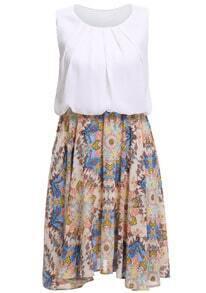 Round Neck Florals Elastic Waist Dress