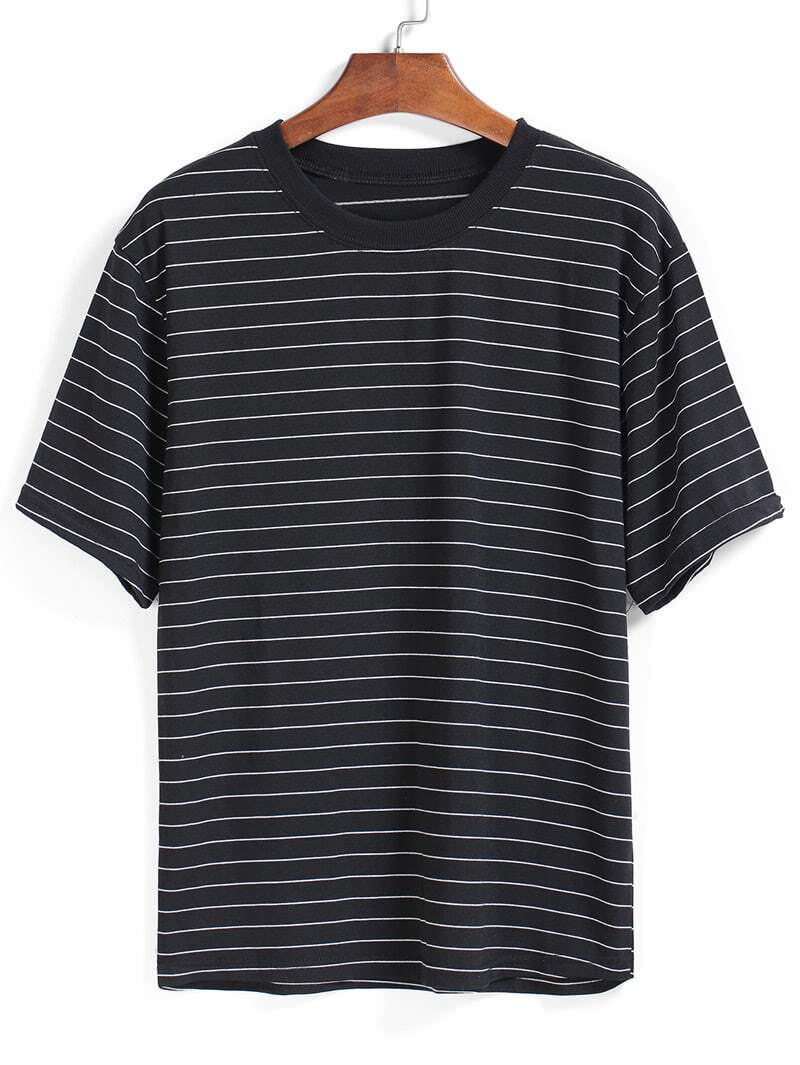 Striped Loose Black T Shirtfor Women Romwe