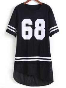 Dip Hem Number Print Black T-shirt