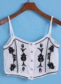 Spaghetti Strap Embroidered Crop White Cami Top