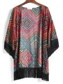 With Tassel Geometric Print Top